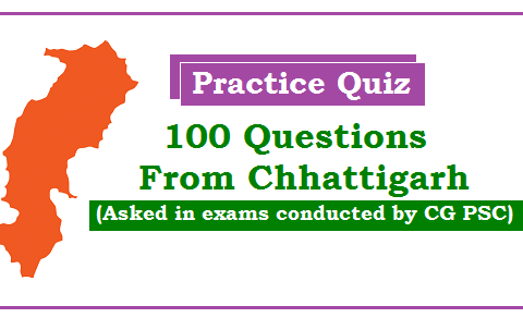 100 questions from CG PSC exams