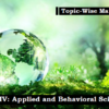(Topic-Wise Mains Papers) Paper-IV: Applied and Behavioral Science