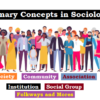 Primary Concepts in Sociology: Society, Community, Association, Institution, Social group, Folkways and Mores