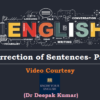 (General English) Correction of Sentences- Part I (Video Lectures)